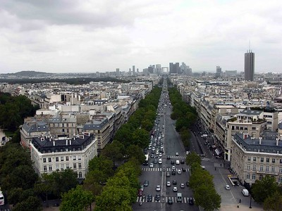 View of Charles DeGaulle Blvd from Arc de Triomphe