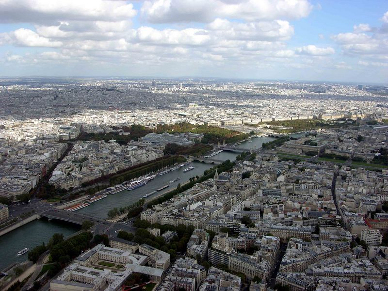 View of Seine from top of Eiffel Tower