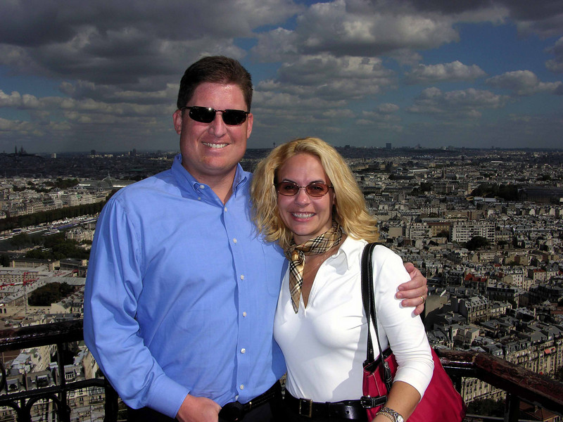 Brett & Jodi on 2nd level of Eiffel Tower