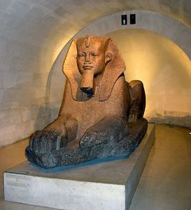 Egyptian Sphinx statue at the Musée du Louvre