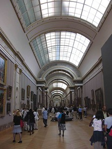View of the Grande Galerie in the Dennon Wing of the Musée du Louvre.