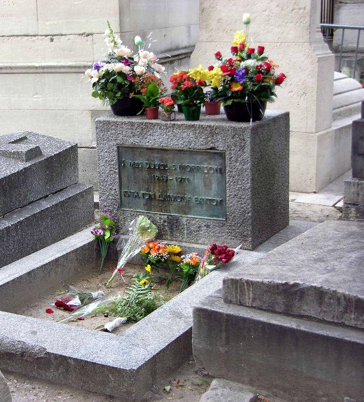 Grave of Jim Morrison at Le Pere Lachaise Cemetery