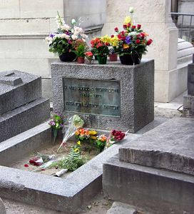 Grave of Jim Morrison at Le Pere Lachaise Cemetery