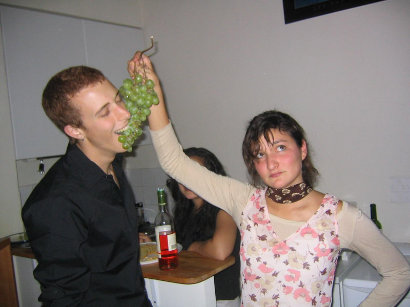 This was my first party at my place on Notre Dame de Nazareth.  Susannah's and Caleb's facial expressions are notable.