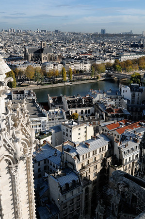 The view from the top of Notre Dame de Paris. Our apartment is less than a block from the far end of the bridge in the upper right of this photo.