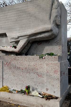 Père Lachaise Cemetery. Oscar Wilde's tomb.