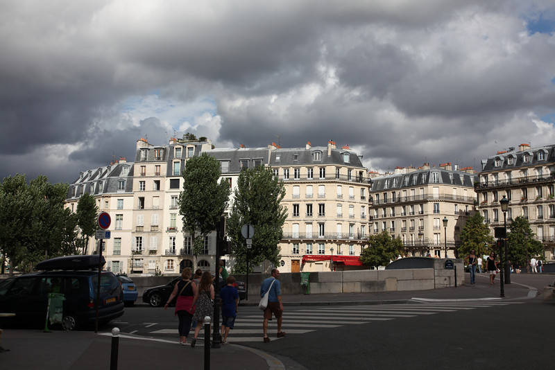 It didn't rain, but there were heavy clouds above us.., near Notre Dame