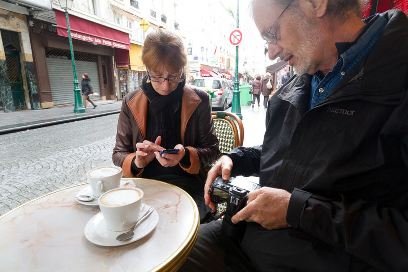 Coffee and checking our photos
