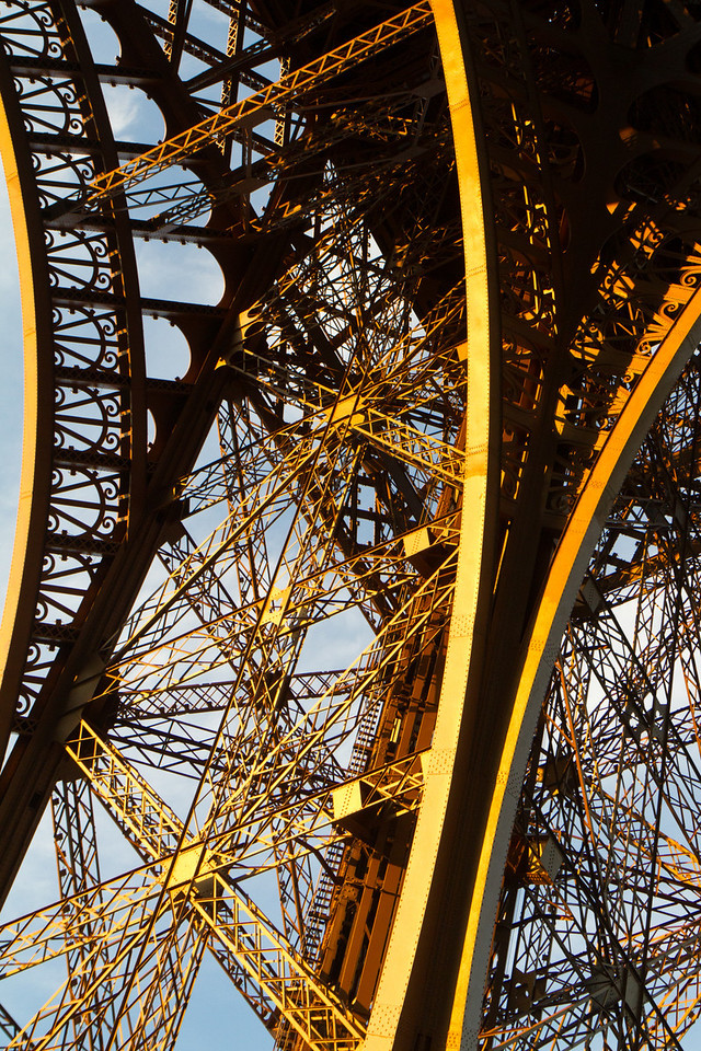Eiffel tower, one of the legs that support the tower.