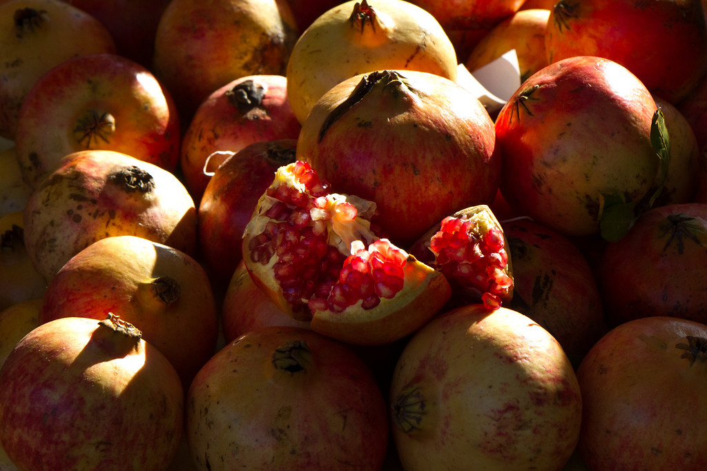 Pomegranates in farmers market