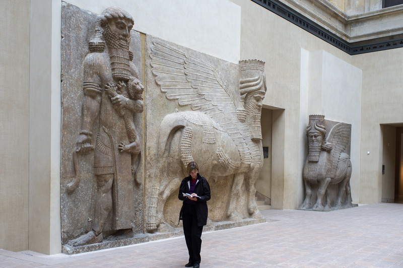 There reliefs covered the entry ways of the Assyrian city complex of Sargon II around 700 BCE. He was the biggest baddest mother of all during his time, sacking and pillaging much of the middle east. The Hebrew bible mentions this guy who expelled the Jews of Israel (after defeating them in battle) into exile in Assyria/Babylon.