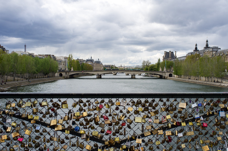 One of the more recent traditions in Paris are love padlocks- lovers initial/sign padlocks which symbolize eternal love, and they (the locks, not the lovers) are then attached to any available space on bridges, mainly over the Seine river.