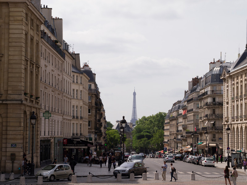 Looking west from the Pantheon, towards the Luxembourg Gardens and Eiffel Tower.