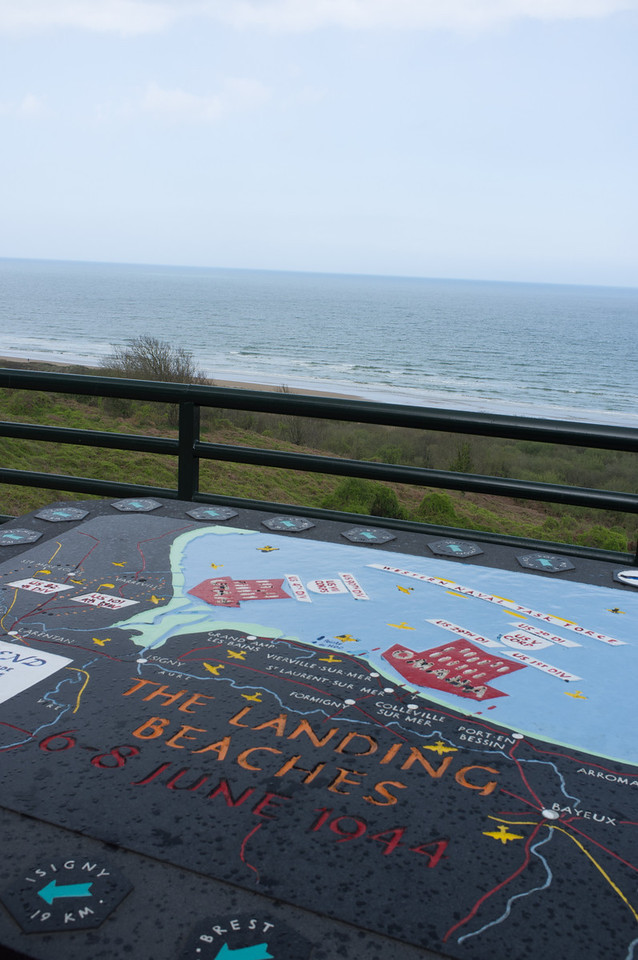 Omaha beach, with a panorama showing the landing areas of the Allies. Utah beach is at the left arrow, and Omaha the arrow on the right, and Pointe du Hoc in between. The scope of the invasion is almost too large to fathom: Over the 100 days following D-Day more than 1,000,000 tons of supplies, 100,000 vehicles and 600,000 men were landed, and 93,000 casualties were evacuated, via Omaha Beach alone (per Wikipedia)