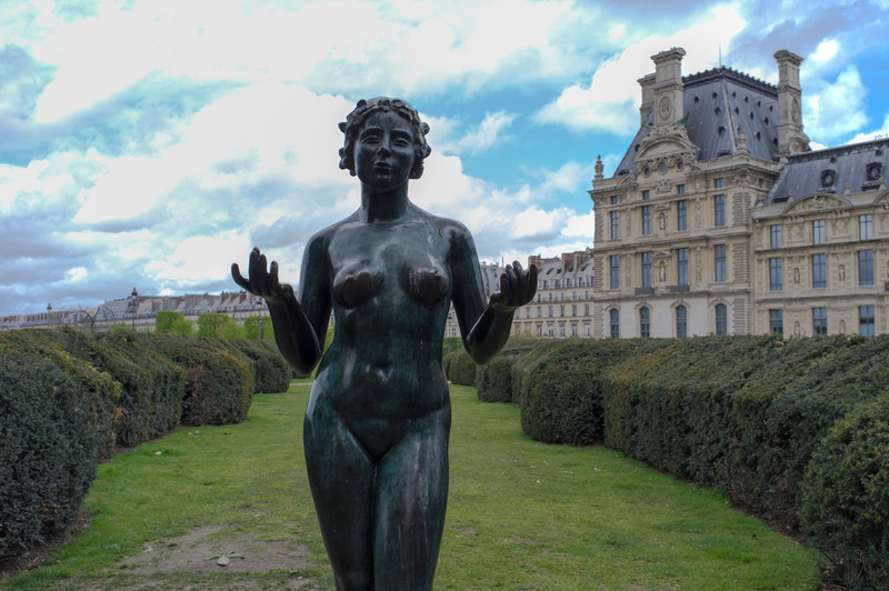 The Tuileries Gardens outside the Louvre are filled in sculptures, some hundreds of years old, some newer.