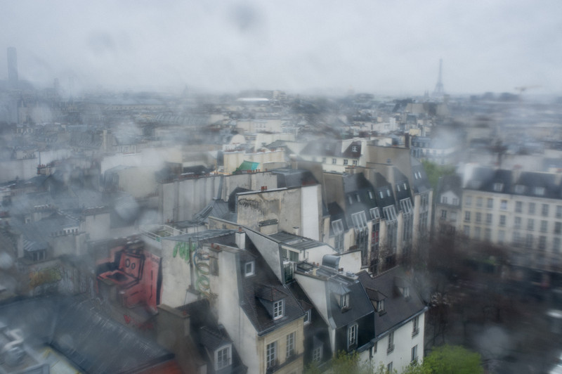 Rainy Paris rooftop (and Eiffel tower) from atop the Pompidou