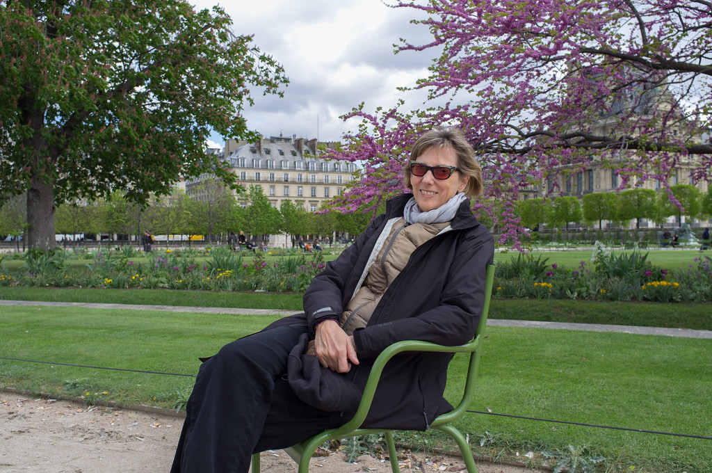 Barbara in the Tuileries garden, dressed for the inclement weather.