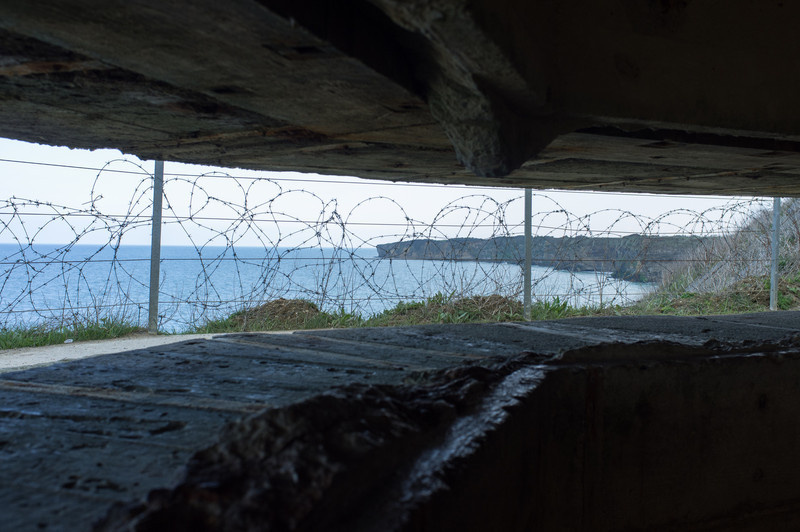 German battery at Point du Hoc, with the cliffs in the background. These were important for the allies to take, as the guns here could reach the Utah beach sites far to the west, and the Omaha beach landing sites far to the east.