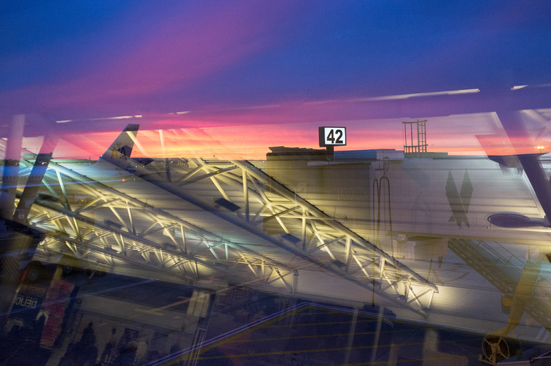 On the way to Paris, we changed planes at JFK airport in New York. A five hour layover meant that we got to watch the sunset over the airport.