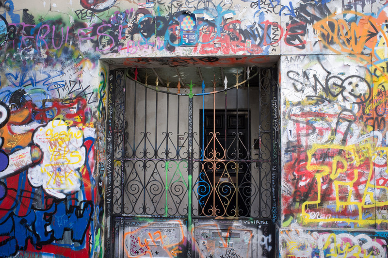 There is remarkably little graffiti in Paris. For some reason, this particular house or business front on the left bank appears to have collected all of the graffiti in Paris