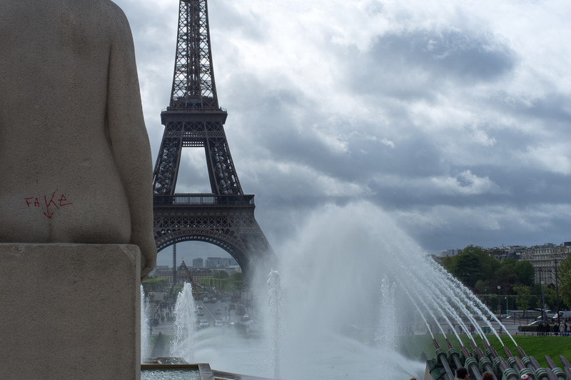 Last day in Paris, at the Trocadero plaza across the Seine from the Eiffel tower, the fountains splashed in a variety of patterns that cycled.