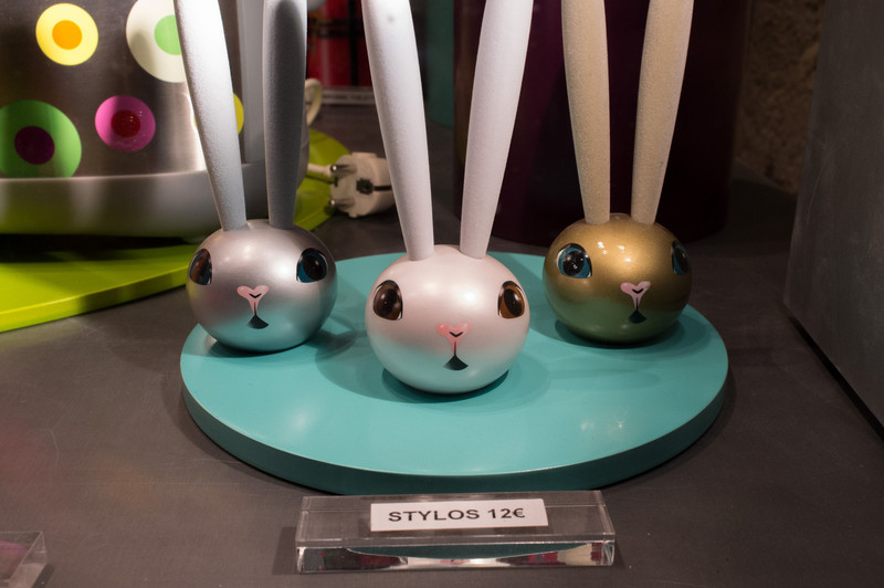 Storefront of Pylones, a French chain that has chatchkes of cute forms. These rabbits are pens. Really
