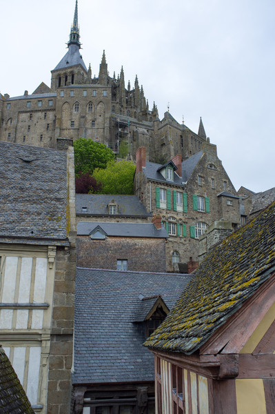 Looking up to the abbey from the village below
