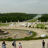 Versailles - a view of the enormous gardens, along with one of the large fountains which is under repair.