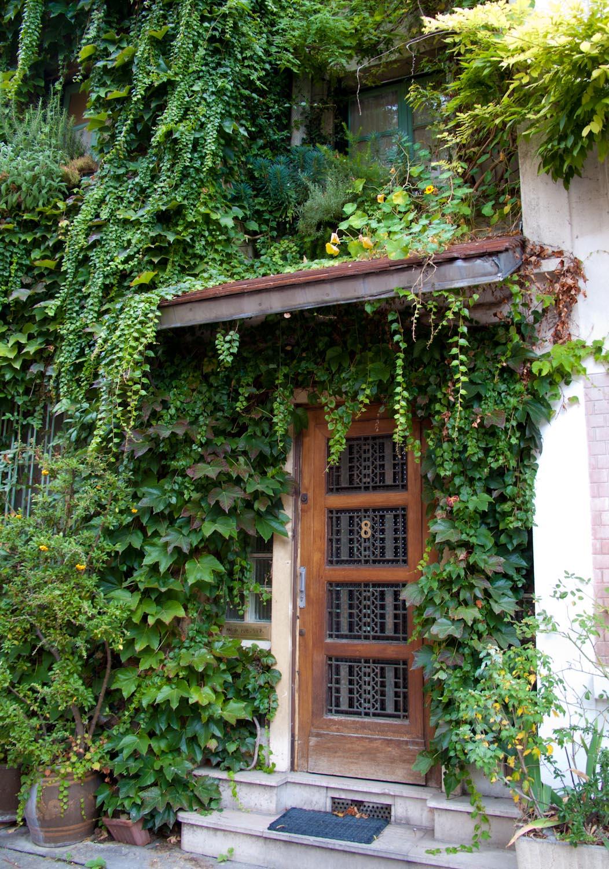 Beautiful door with greenery: imagine coming home to this! Also Rue de Glycines, Paris.
