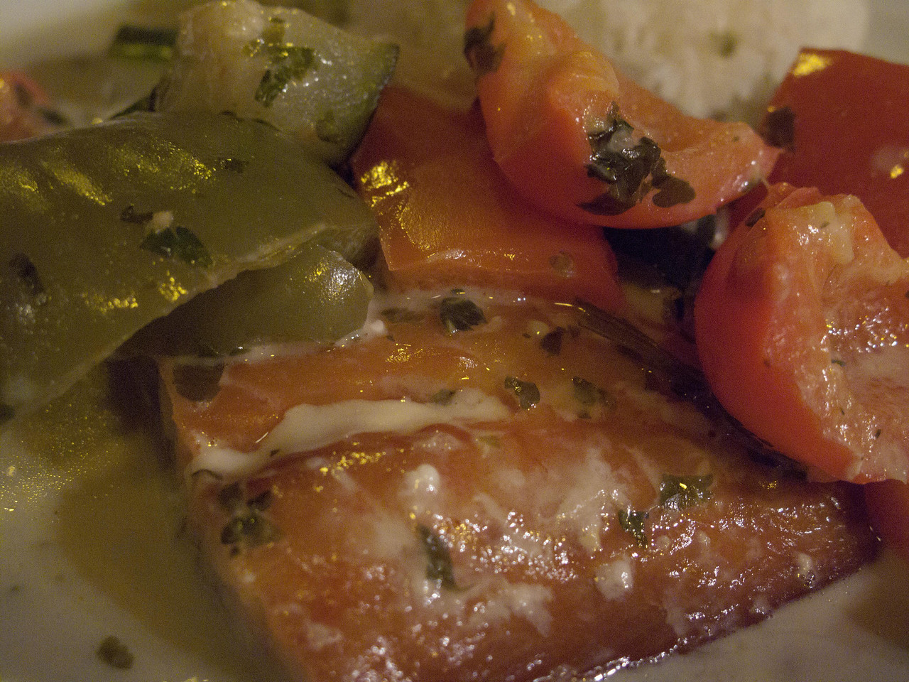 Haddock with peppers and other vegetables, basking in a coconut sauce, at Diet Ethique, rue de Chambery, Paris