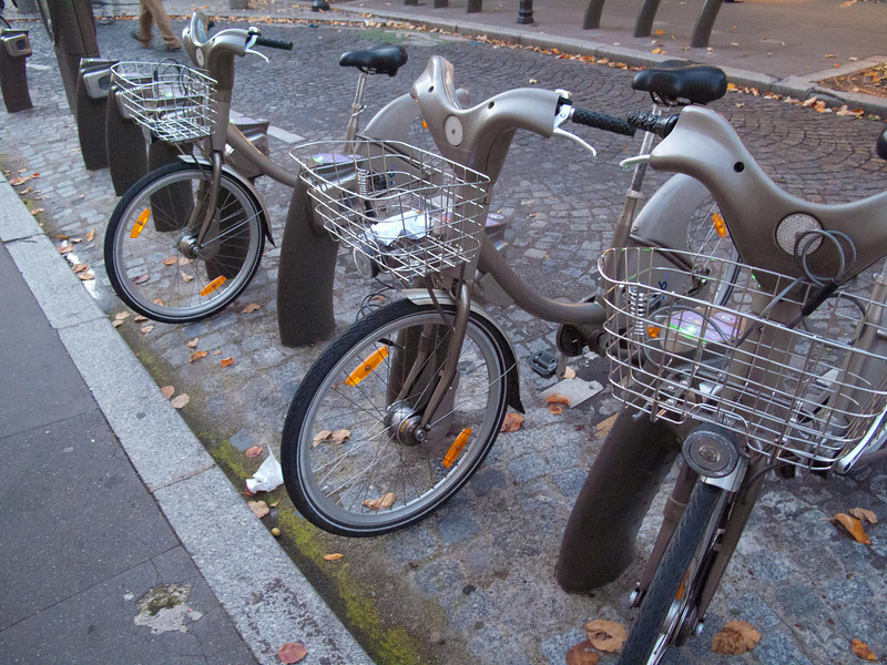 Free bicycles--some 60,000 in Paris. more details coming. Fun way to get around.
