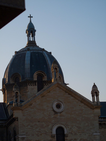 Church out the window, early morning