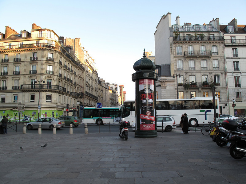 A view down Rue Beaubourg with the Pompidou Centre on the left at the end of the street