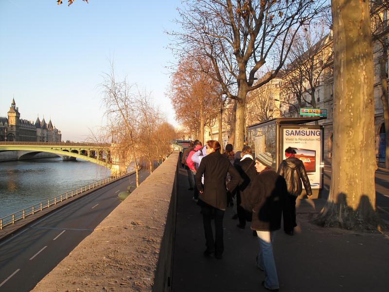 Along the Seine on our way to Sainte-Chapelle on Ile de la Cité