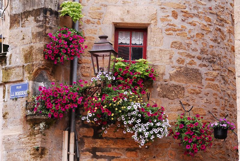 Street corner and Flowers, Sarlat, France.