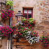 Street corner and Flowers, Sarlat, France.
