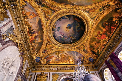 Ceiling of the War Drawing Room, Palace at Versailles. This room is at one end of the Hall of Mirrors.