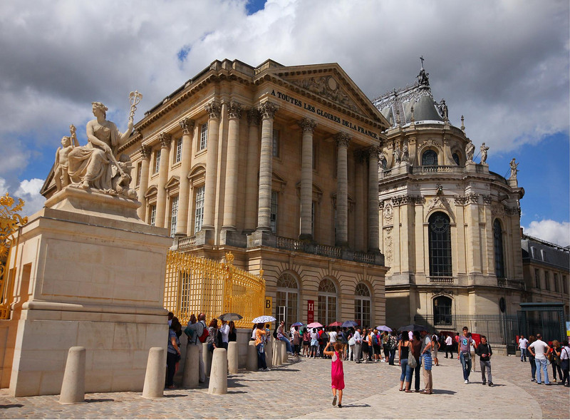 Front buildings of the Palace at Versailles. The curved building on the right is the Chapel where King Louis XVI married Marie Antoinette.