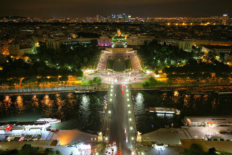 "Looking northwest from the Eiffel Tower. The ""City of Lights"" lives up to its billing on a clear night. In the top center is the Trocadero and the curved Palais De Chaillot, home of the French Naval Museum and other museums."