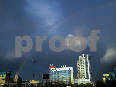 Paris, France, Eastern Suburbs Cityscape with Large Rainbow in Sky, Montreuil