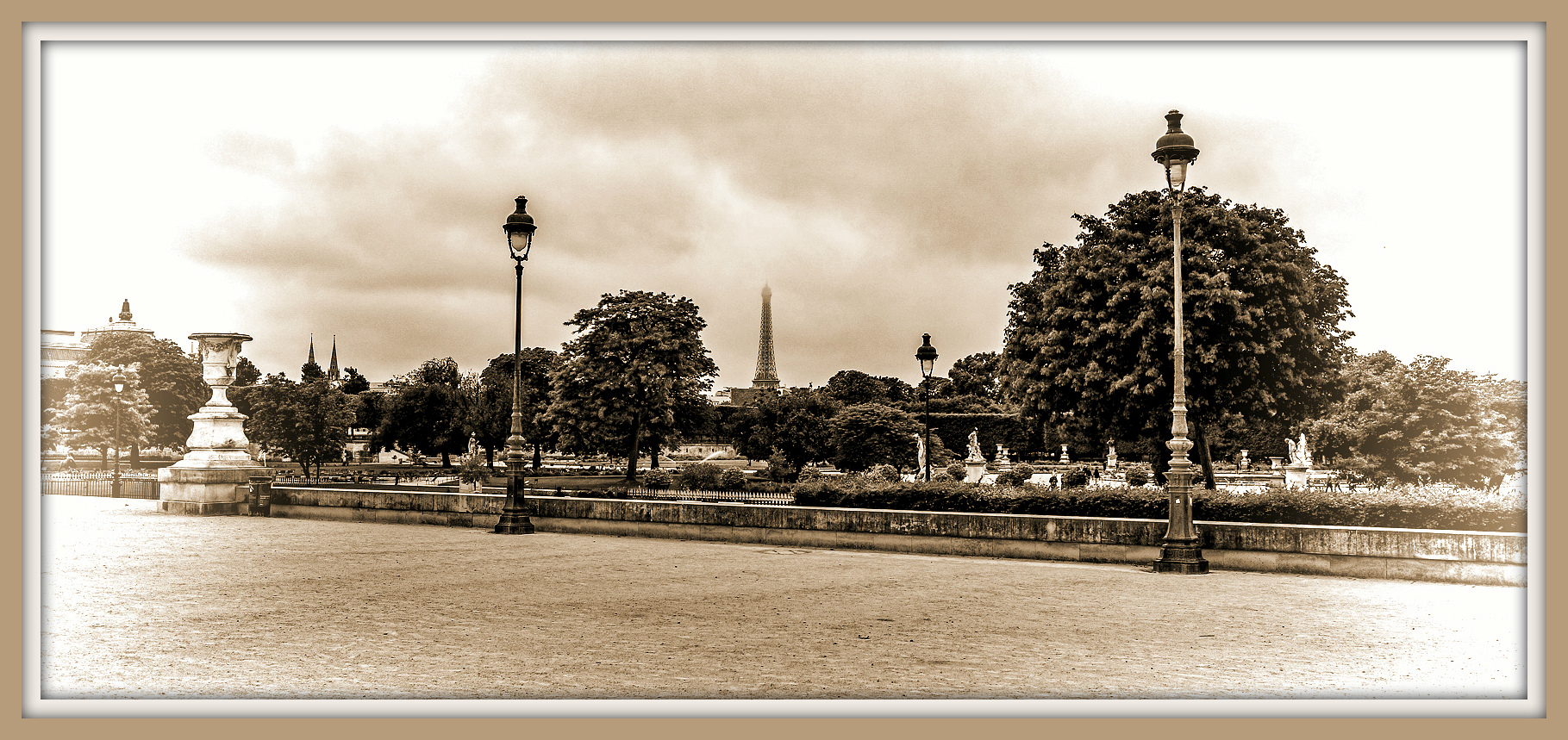 Eiffel Tower as viewed from the Louvre-Paris, France