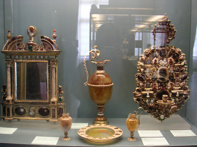 more Crown Jewels or what is left of them are on display in the Louvre.  Did u know that The Louvre was once the Loueys' palace?  It took many generations of them to build it.