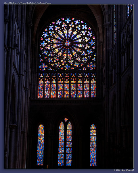 Rose Window of St. Vincent Cathedral in the city of St. Malo, France.