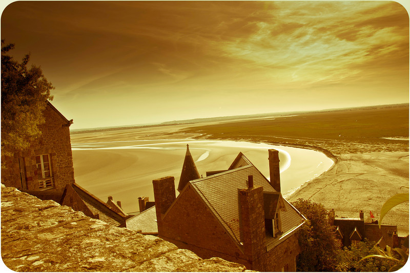 Low tide looking out from the iconic Mount St Michel.