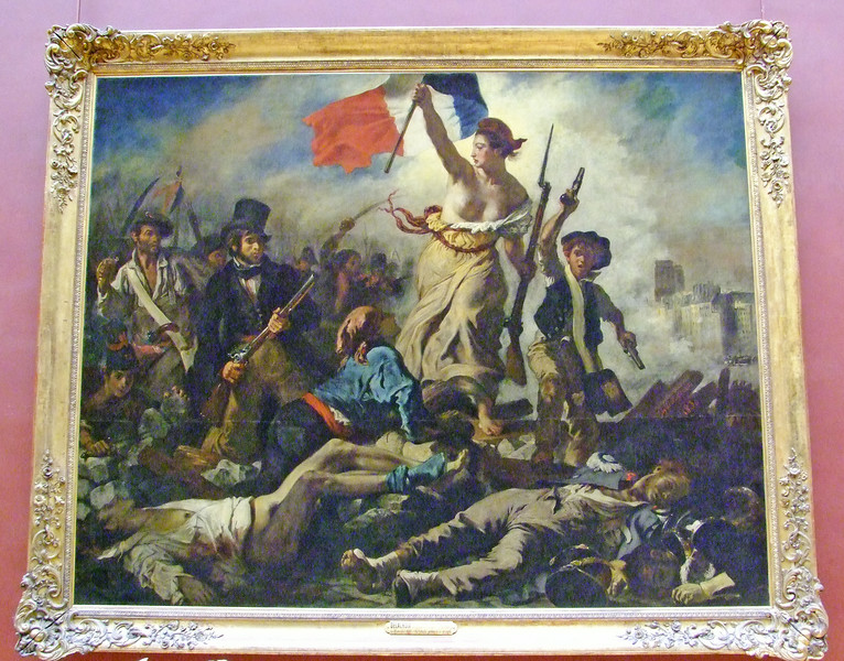 A painting of a fictional lady (Lady Liberty) leading the French people in 1830 against royalist oppressors.  One of the most famous French paintings - by Eugene Delacroix.