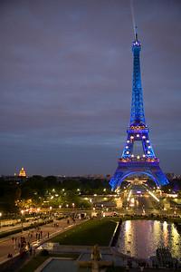 Le Tour Eiffel, lit up with a European Union motif.