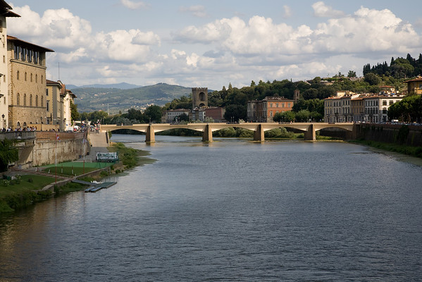 The Arno river in Florence, from the bridge north of Ponte Vecchio.