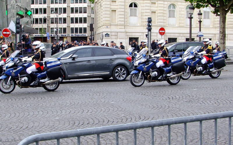 The French President Francois Hollande passing by after the Victoire 1945 Day parade.