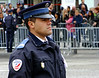 A national policeman on watch during the parade.