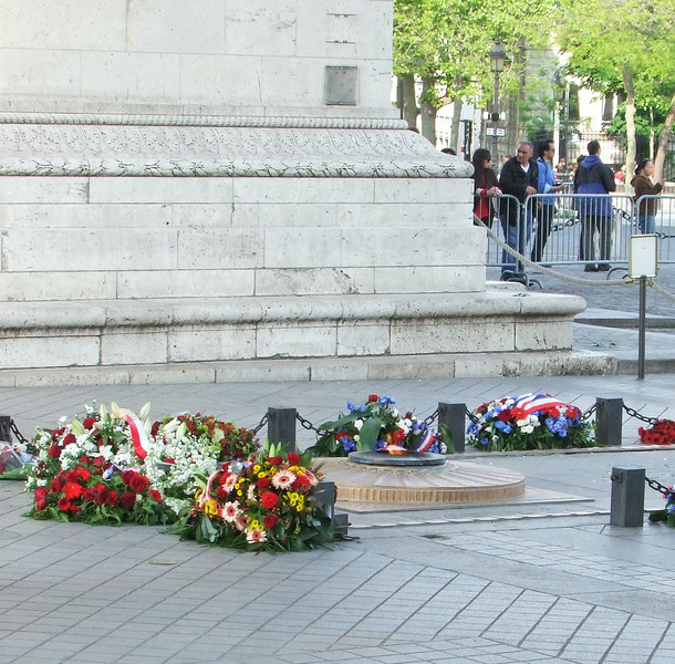 A daily ceremony at the Arc de Tromphe to honor French Unknown Soldiers.